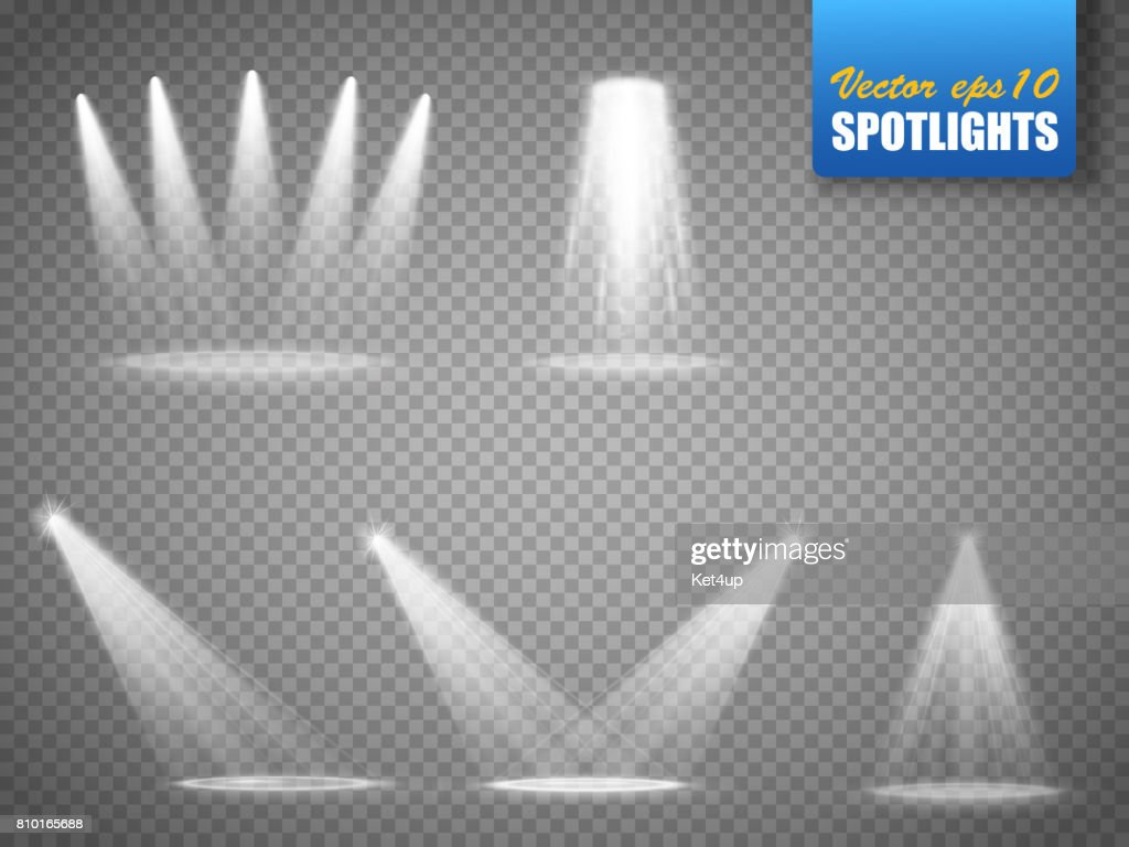 Set of vector isolated spotlights. Stage light on transparent.