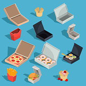 Set of vector isometric illustrations of fast food meal in a cardboard packing and empty open cardboard boxes