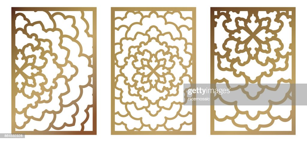 Set Of Vector Laser Cut Panel Abstract Pattern Template For ...