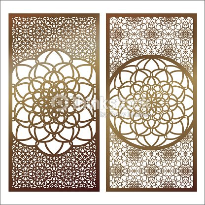 Set Of Vector Laser Cut Panel Pattern Template For Decorative Wall Panels Or
