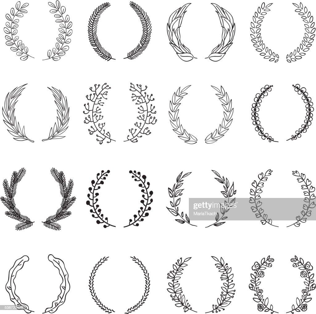 Set of vector laurel wreaths.
