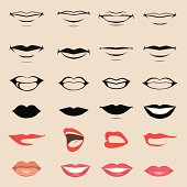 Set of vector lips and mouths on beige background