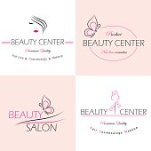 Set of vector logo templates, labels and badges for beauty salon