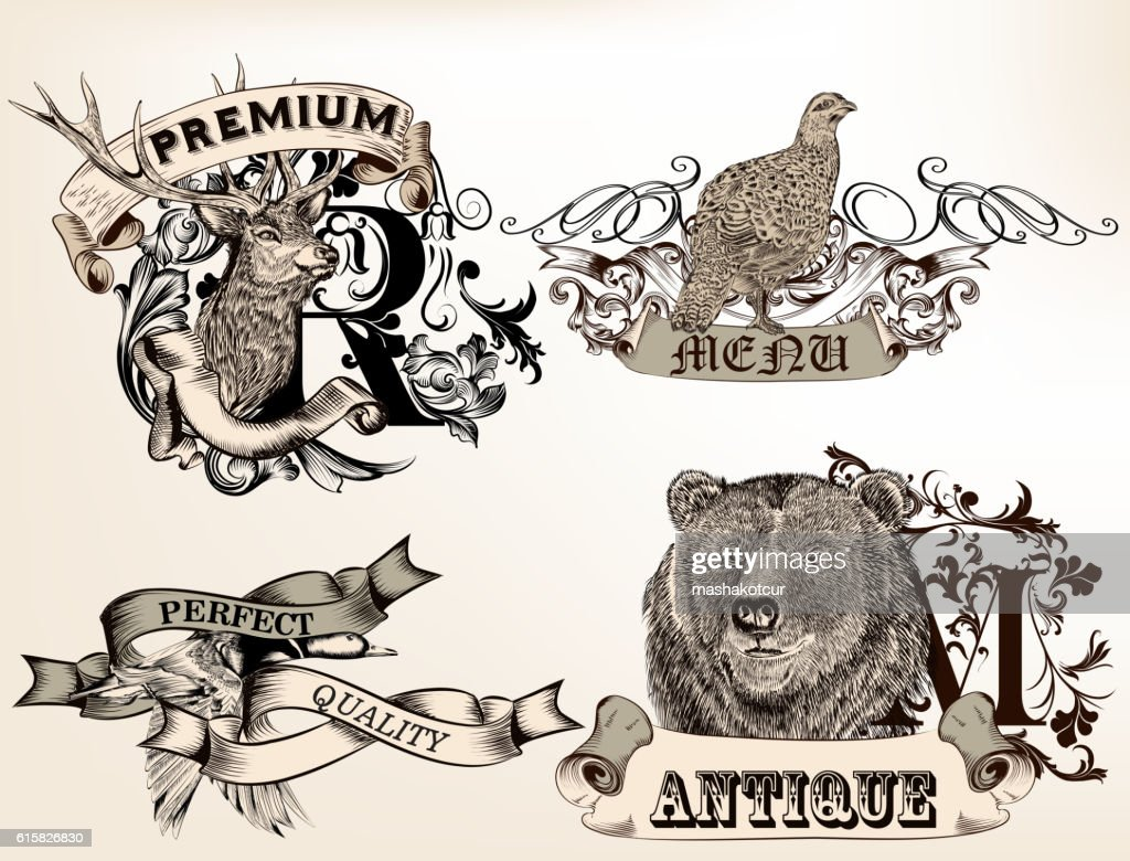 Set of vector logotypes with hand drawn wild animals