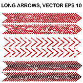 Set of vector long wide-angle textured arrows
