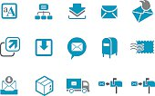 A set of vector mailing icons in blue and white