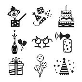 Set of vector monochrome celebration icons in flat style