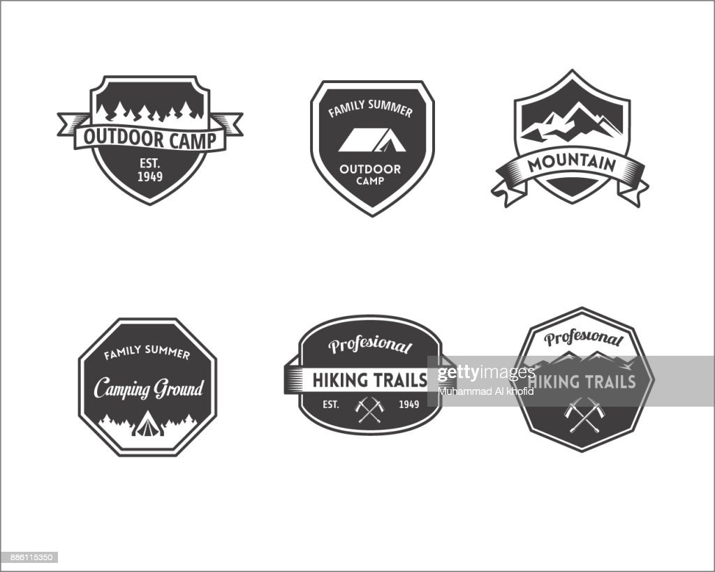 Set Of Vector Mountain And Outdoor Adventures Icon Tourism