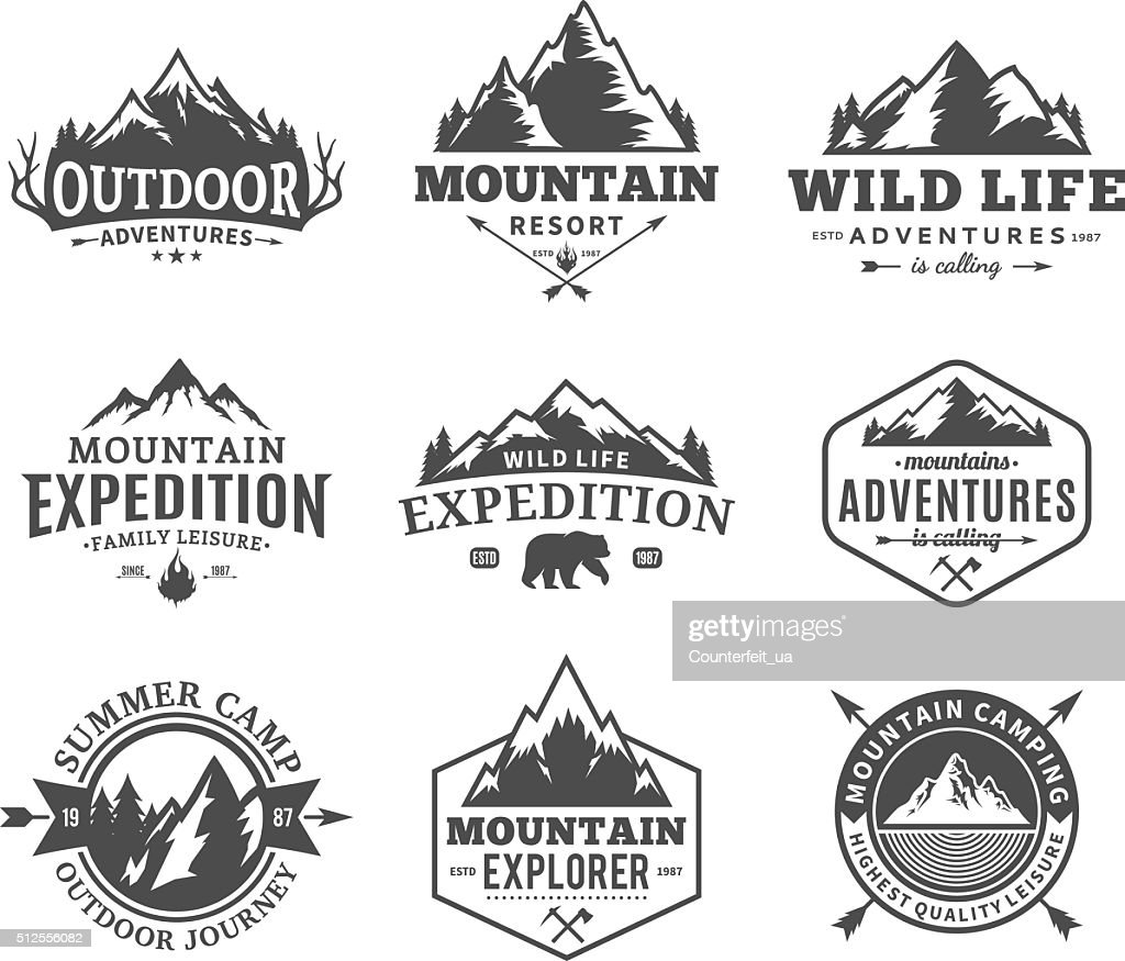 Set of vector mountain and outdoor adventures labels