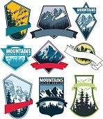 set of Vector Mountains Emblem