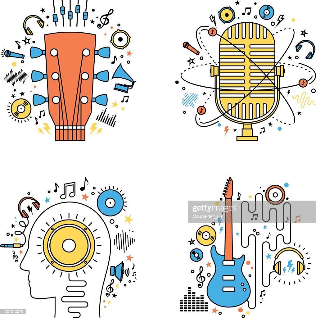 Set of vector music flat line illustrations