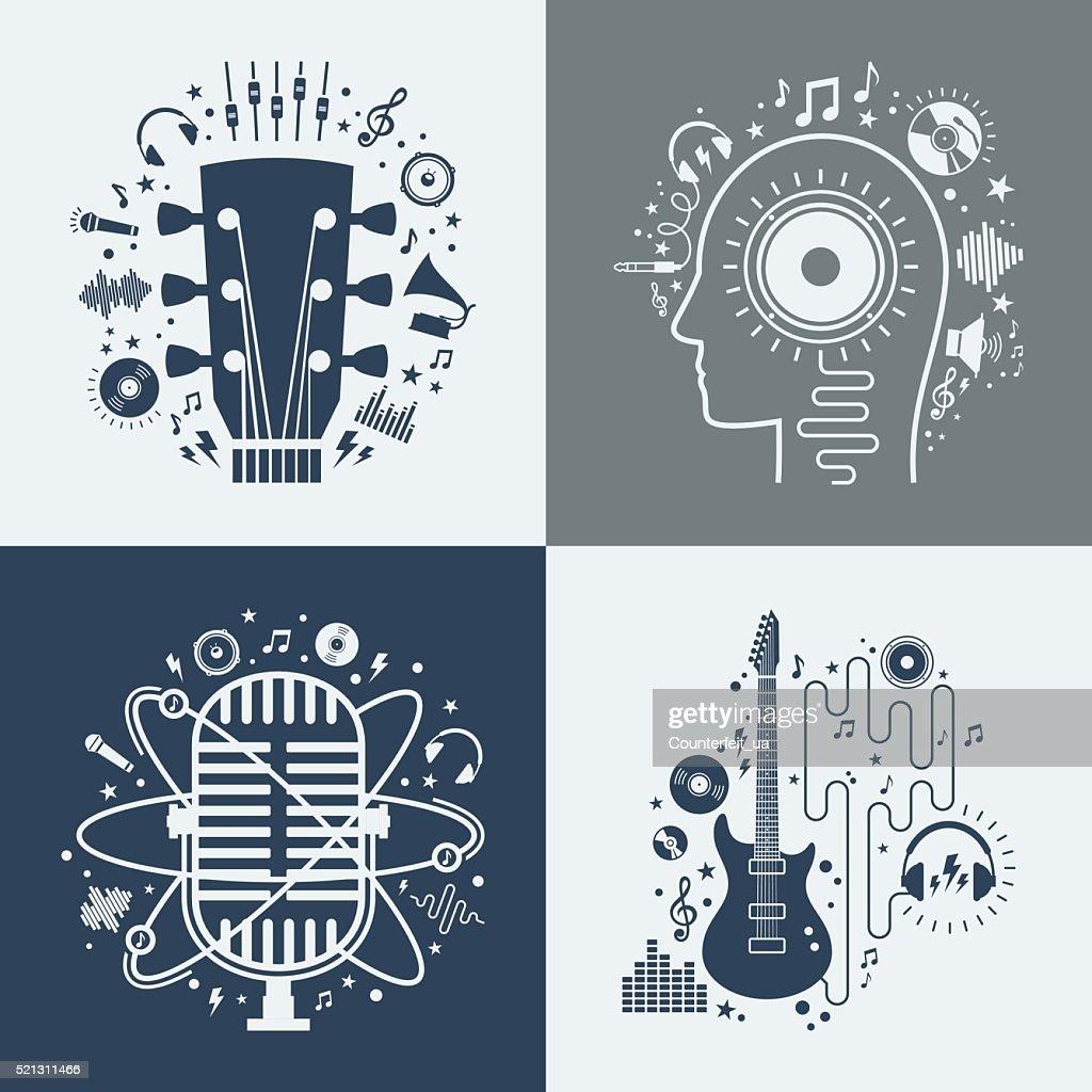 Set of vector music illustrations