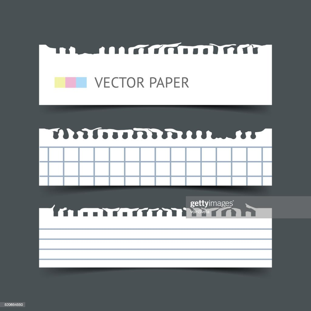 Set of vector notepaper horizontal web banners. Paper sheets for