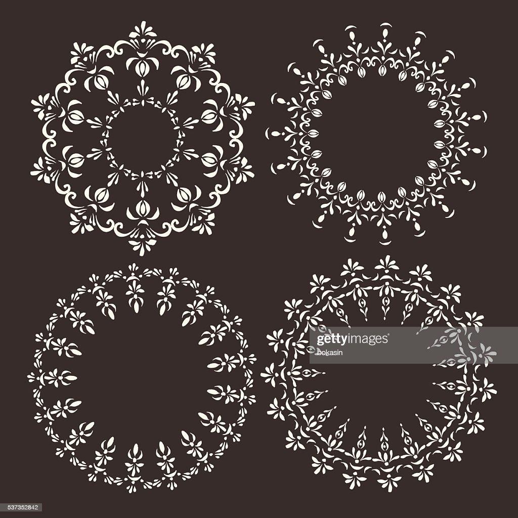 Set of vector ornate decorative round frames