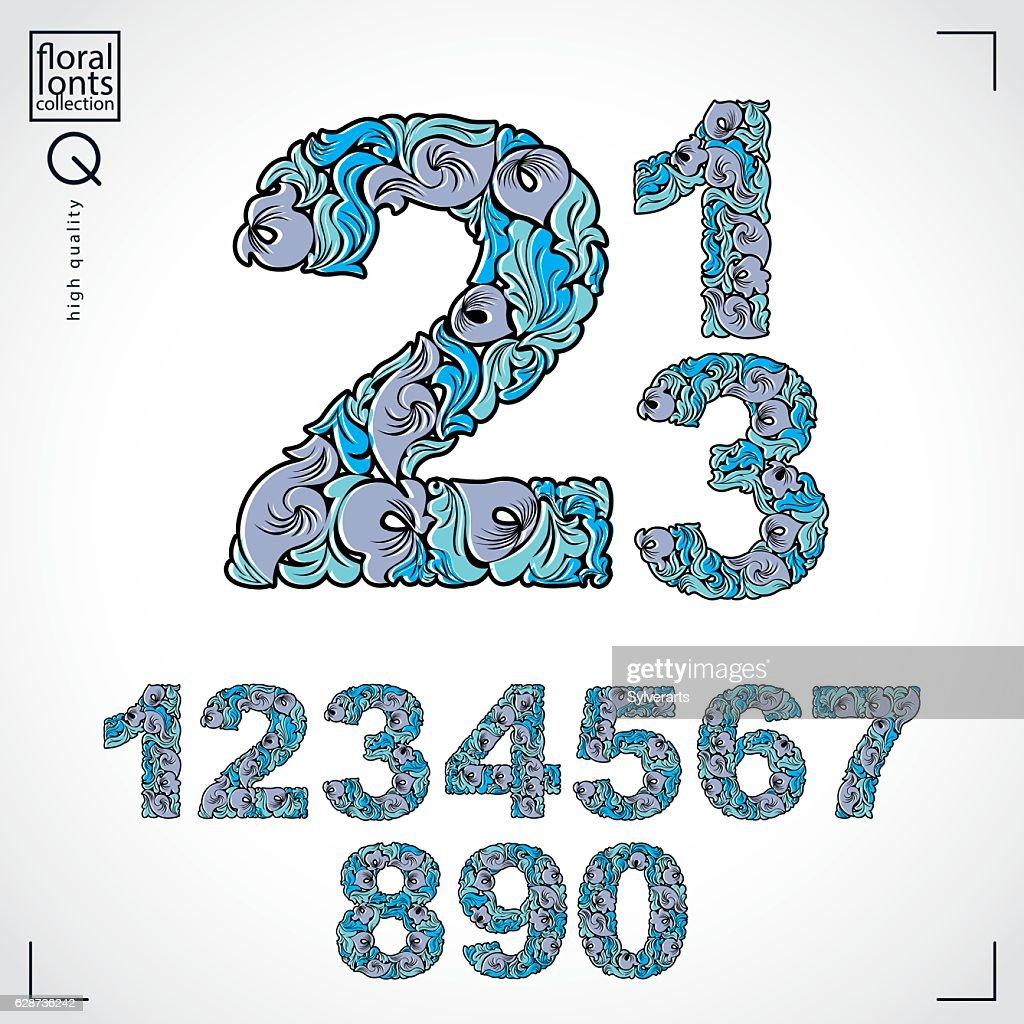 Set of vector ornate numbers, flower-patterned numeration. Blue