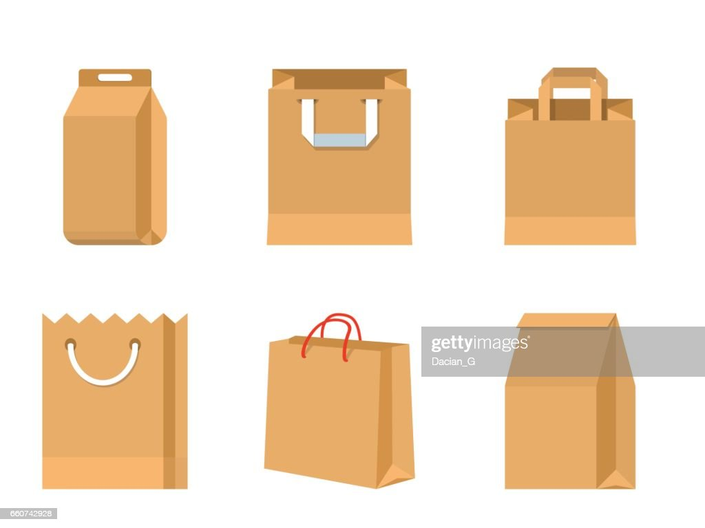 Set of vector paper brown bags
