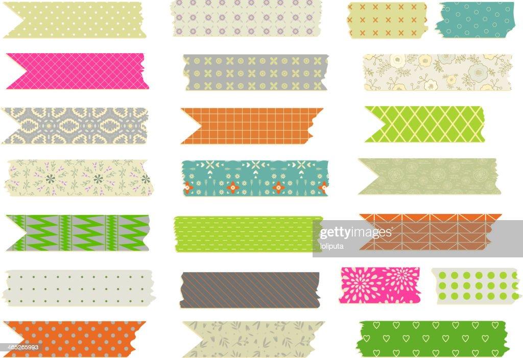 Set of vector patterned Washi tape strips