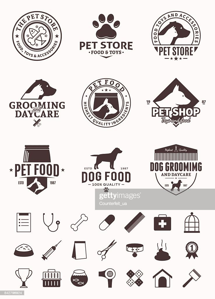 Set of vector pet labels, icons and design elements