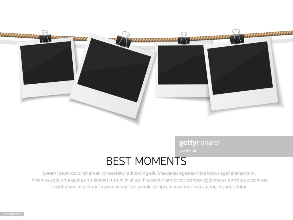 Set of vector photo hanged on rope. Realistic retro style instant fotos with thread. Remember the moment