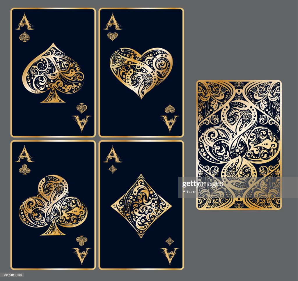 Set of vector playing card suits and back design