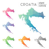 Set of vector polygonal Croatia maps.
