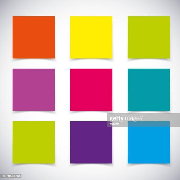 set of vector post it - post it stock illustrations, clip art, cartoons, & icons