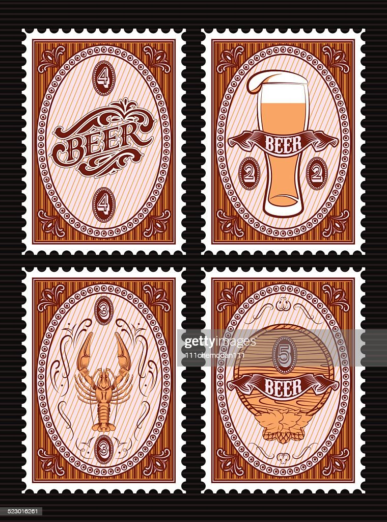 set of vector postage stamps with glass of beer