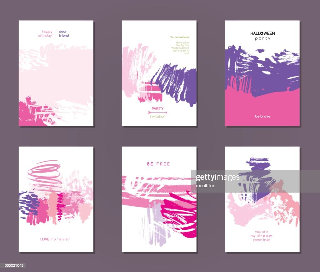 Set of vector postcards