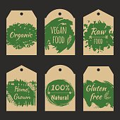 Set of vector price tag label for natural product.