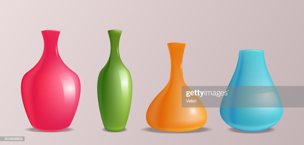 Set of vector realistic colorful vases