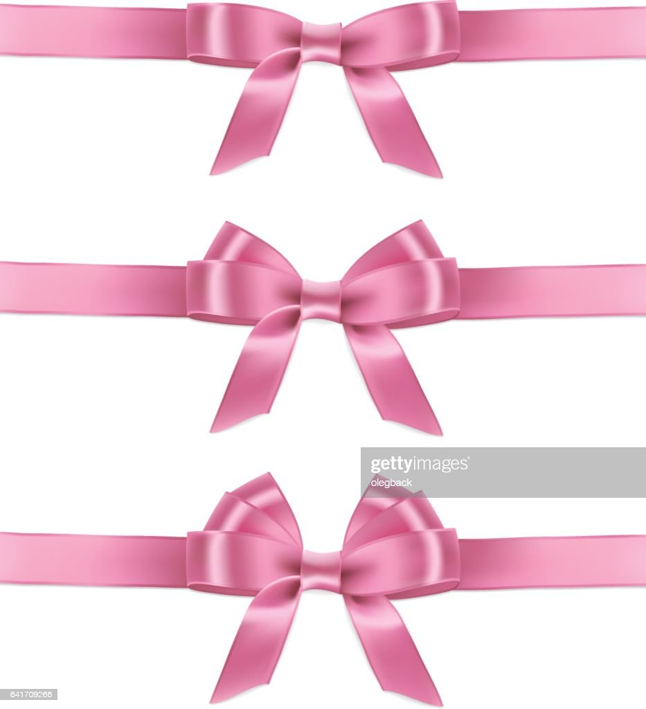 Set of vector realistic pink ribbons and bows.