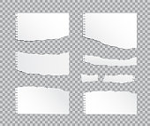 Set of vector realistic torn paper pieces isolated on transparent background.