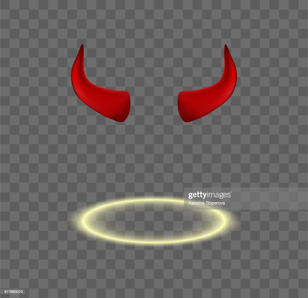 Set of vector red devil horns and shining angel halo isolated on transparent background