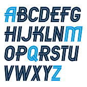 Set of vector regular upper case English alphabet letters made with white lines, for use as design elements for press and blogging.