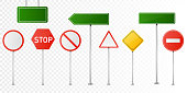 Set of vector road signs isolated on transparent background.