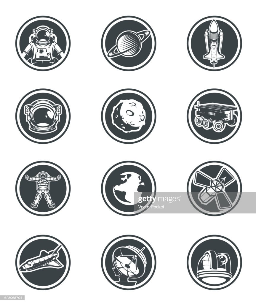 Set of vector round badges space.