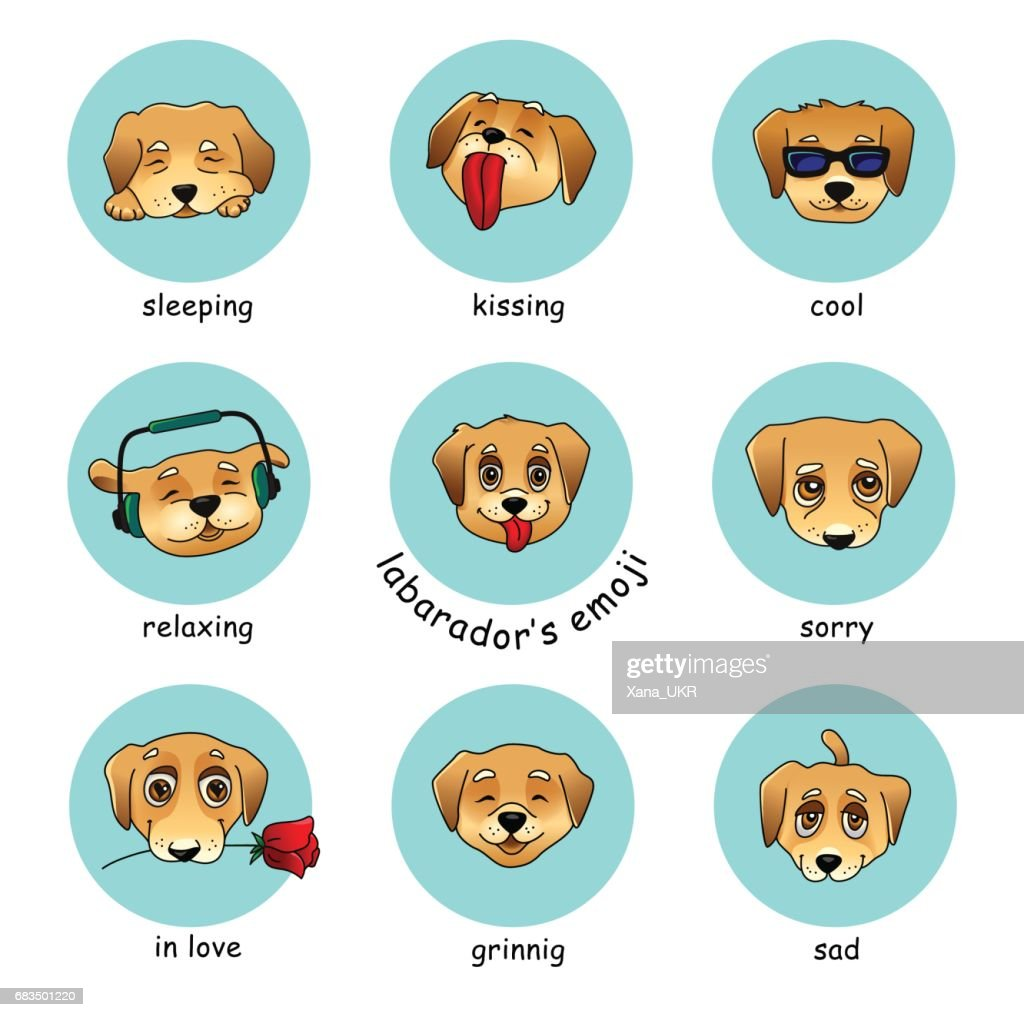 Set of vector round stickers, emojis with dog