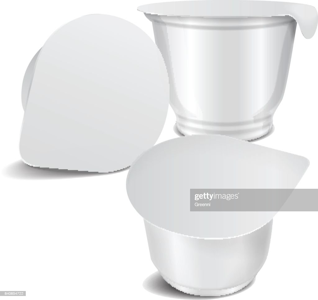 Set Of Vector Round White Glossy Plastic Pot With Foil Cover For