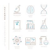 Set of vector science icons and concepts