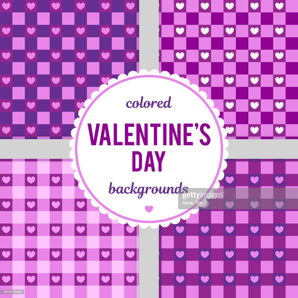 Set of vector seamless backgrounds for Valentine's Day. Vector illustration for celebration.