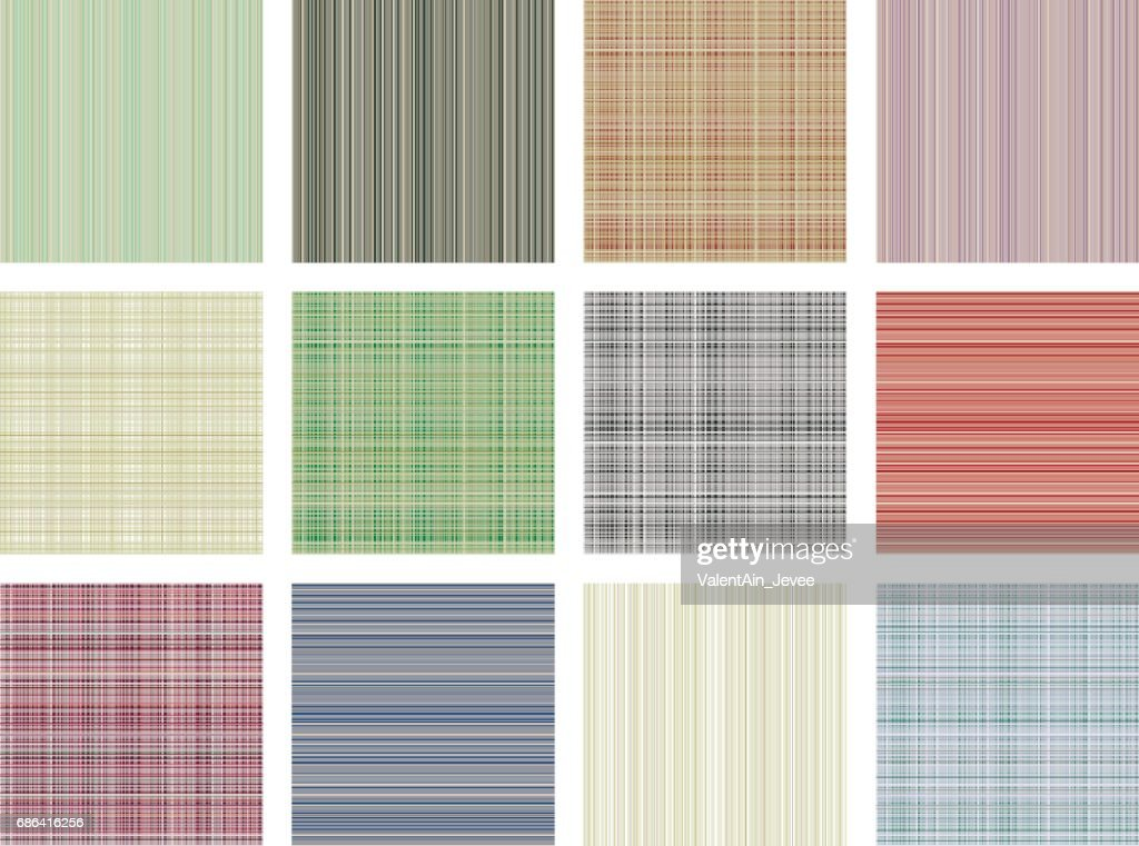 Set of vector seamless textures. Pastel different checkered, lined backgrounds in pastel colors, fabric swatch samples texture of cloth. Series of Seamless vector Textures.