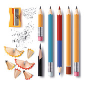 Set of vector sharpened pencils of various lengths with a rubber, a sharpener, pencil shavings