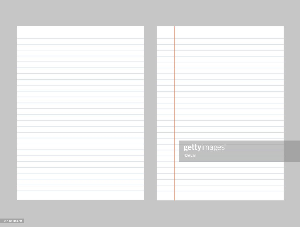 Set of vector sheets of lined paper . Isolated