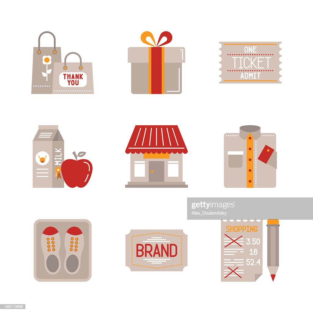 Set of vector shopping icons and concepts in flat style