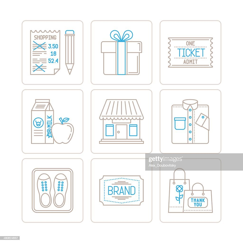 Set of vector shopping icons and concepts