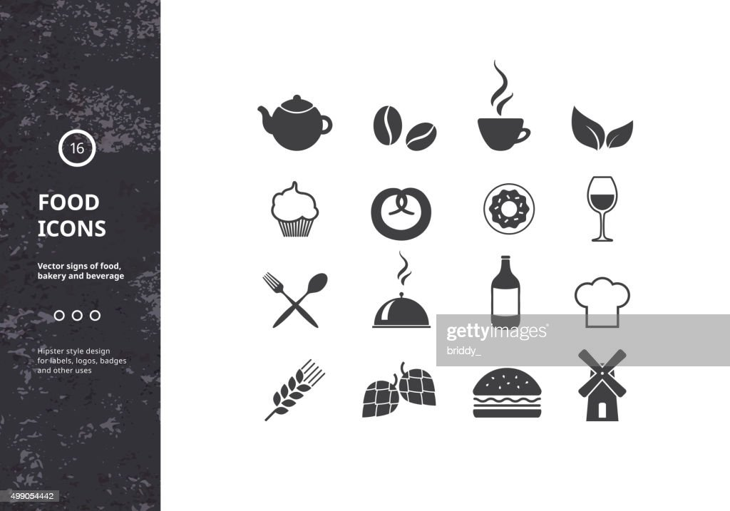 Set of Vector Signs of Food, Bakery and Beverage