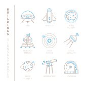 Set of vector space icons and concepts