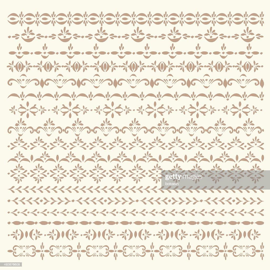 Set of vector sripe ornaments and pattern brushes.