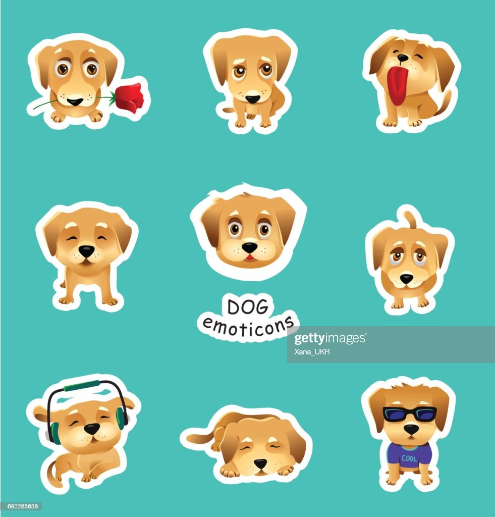 Set of vector stickers, emojis with cute dog