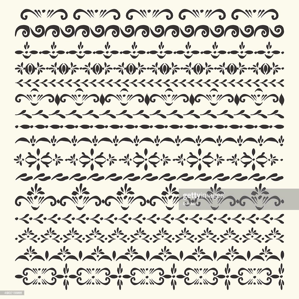 Set of vector stripe ornaments and pattern brushes